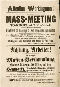 Plakat-Aufruf zum 1. Mai 1886 in deutsch und englsich